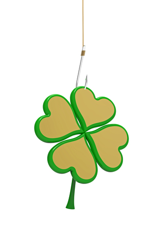 Golden clover with four leaves on the hook, 3D render photo