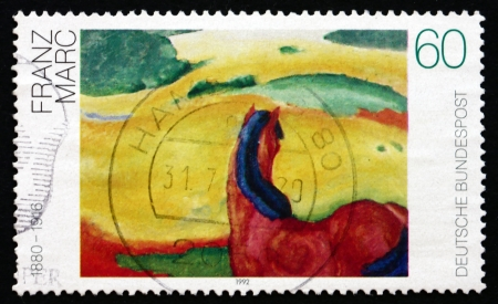 franz: GERMANY - CIRCA 1992: a stamp printed in the Germany shows Landscape with a Horse, Painting by Franz Marc, circa 1992