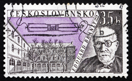 telegraphy: CZECHOSLOVAKIA - CIRCA 1959: a stamp printed in the Czechoslovakia shows Edouard Branly, Inventor of the Branly Coherer, circa 1959