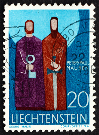 patron: LIECHTENSTEIN - CIRCA 1967: a stamp printed in the Liechtenstein shows Peter and Paul, Patron Saints of Mauren, circa 1967 Editorial
