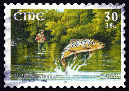 IRELAND - CIRCA 2001: a stamp printed in the Ireland shows Fishing, circa 2001