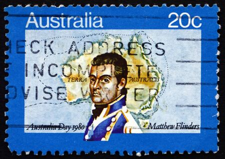 flinders: AUSTRALIA - CIRCA 1980: a stamp printed in the Australia shows Matthew Flinders, Navigator and Cartographer, Map of Australia, Australia Day, circa 1980