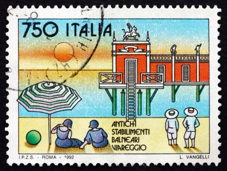 viareggio: ITALY - CIRCA 1992: a stamp printed in the Italy shows Viareggio, Beach Resort, circa 1992