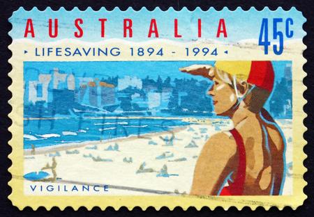 life saving: AUSTRALIA - CIRCA 1994: a stamp printed in the Australia shows Vigilance, Royal Life Saving Society, Centenary, circa 1994