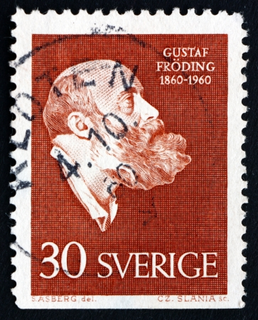 founding: SWEDEN - CIRCA 1960: a stamp printed in the Sweden shows Gustaf Froding, Poet and Writer, Centenary of the Founding of the Voluntary Shooting Organization, circa 1960