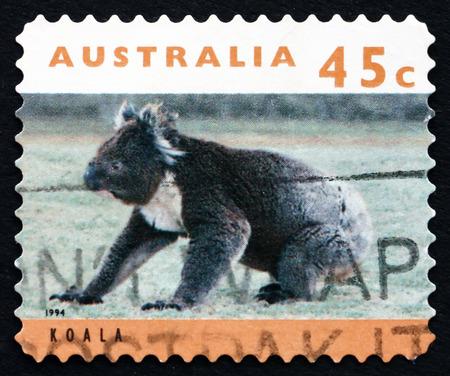 AUSTRALIA - CIRCA 1994: a stamp printed in the Australia shows Koala, Phascolarctos Cinereus, Arboreal Herbivorous Marsupial Mammal, circa 1994