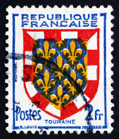 touraine: FRANCE - CIRCA 1951: a stamp printed in the France shows Arms of Touraine, circa 1951 Editorial