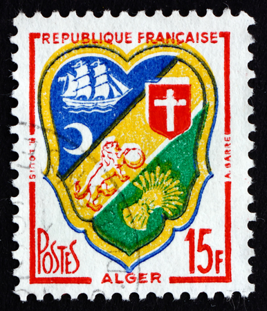 FRANCE - CIRCA 1959: a stamp printed in the France shows Arms of Algiers, circa 1959