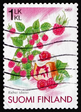FINLAND - CIRCA 2007: a stamp printed in the Finland shows Raspberries and Raspberry cake, circa 2007