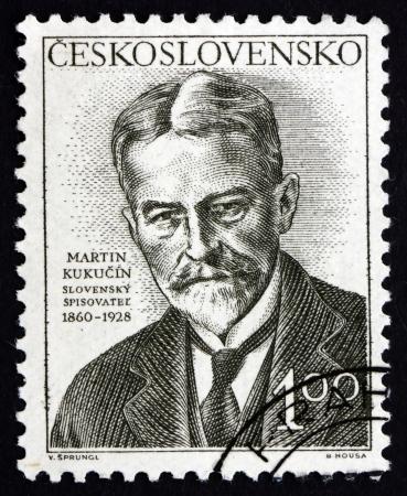 prosa: CECOSLOVACCHIA - CIRCA 1953: un francobollo stampato in Cecoslovacchia mostra Martin Kukucin, slovacca Prosa Scrittore, drammaturgo e pubblicista, circa 1953
