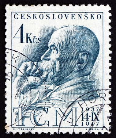 CZECHOSLOVAKIA - CIRCA 1947: a stamp printed in the Czechoslovakia shows Tomas Garrigue Masaryk, Politician, Sociologist and Philosopher, first President of Czechoslovakia, circa 1947