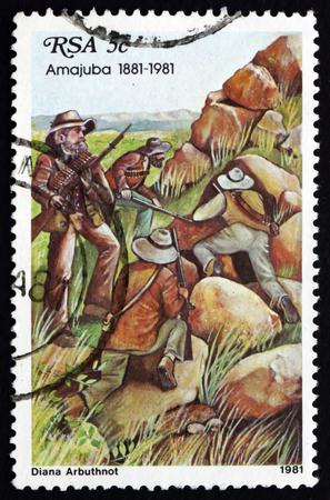 boer: Sud�frica - alrededor de 1981: un sello impreso en Sud�frica muestra Boer Snipers, Centenario de la Batalla de Amajuba, Independencia del Estado Libre de Orange, alrededor de 1981