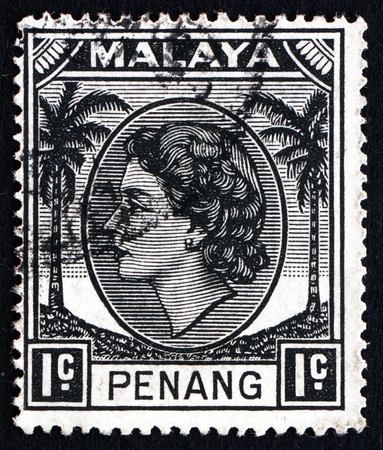 malaya: MALAYA - CIRCA 1957: a stamp printed in Malaya, Penang shows Portrait of Queen Elizabeth II, circa 1957