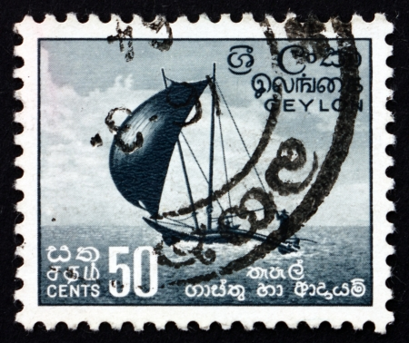 SRI LANKA - CIRCA 1954: a stamp printed in Sri Lanka shows Outrigger Fishing Canoe, circa 1954