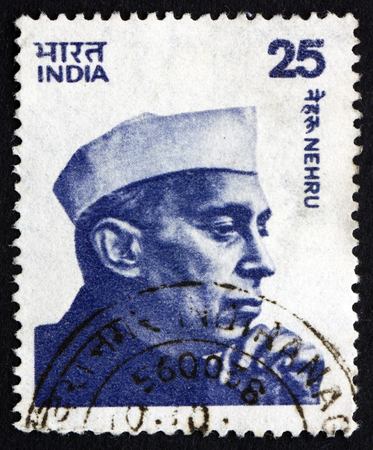 indian postal stamp: INDIA - CIRCA 1976: a stamp printed in India shows Jawaharlal Nehru, the First Prime Minister of India, circa 1976