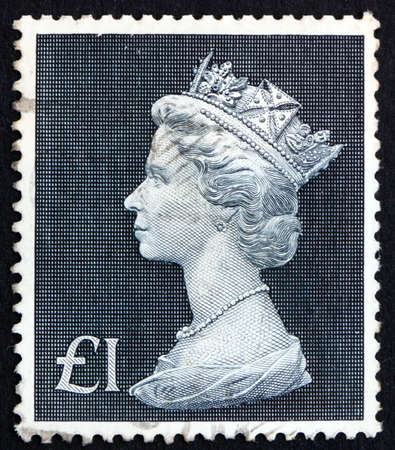 GREAT BRITAIN - CIRCA 1969: a stamp printed in the Great Britain shows Her Majesty the Queen Elizabeth II, Portrait, circa 1969