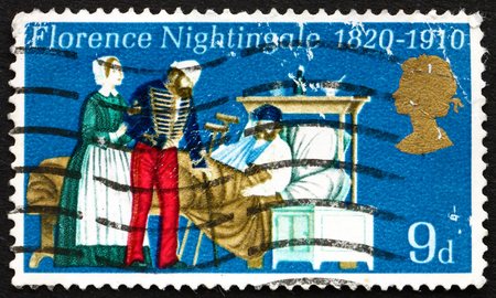 statistician: GREAT BRITAIN - CIRCA 1970: a stamp printed in the Great Britain shows Florence Nightingale, Nurse and Hospital Reformer, in Scutari Hospital, circa 1970