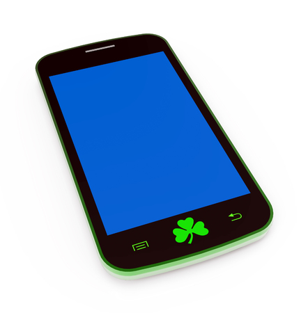 Saint Patrick mobile phone, 3D render, illustration illustration