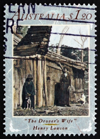 lawson: AUSTRALIA - CIRCA 1991: a stamp printed in the Australia shows The Drovers Wife by Henry Lawson, Australian Literature, circa 1991