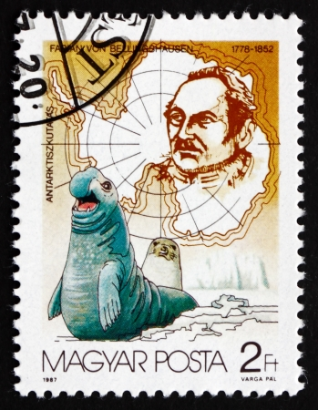 cartographer: HUNGARY - CIRCA 1987: a stamp printed in the Hungary shows Fabian von Bellingshausen and Seals, Russian Cartographer and Explorer, Admiral, circa 1987 Editorial