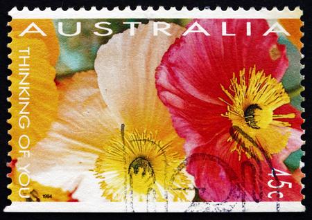thinking of you: AUSTRALIA - CIRCA 1994: a stamp printed in the Australia shows Poppies, Thinking of You, Valentine, circa 1994