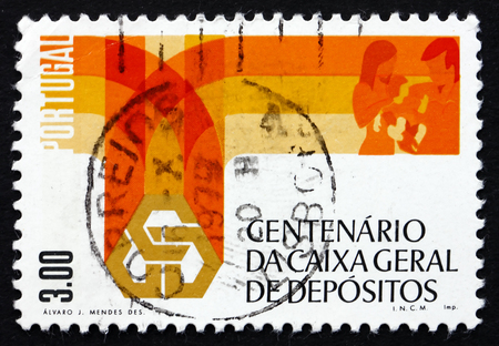 PORTUGAL - CIRCA 1976: a stamp printed in the Portugal shows Bank Emblem and Family, Trust Fund Bank Centenary, circa 1976