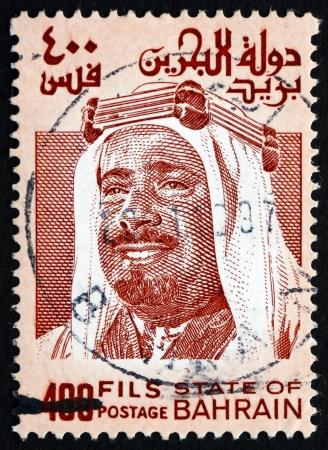 sheik: BAHRAIN - CIRCA 1976: a stamp printed in the Bahrain shows Sheik Isa bin Salman Al Khalifa, circa 1976