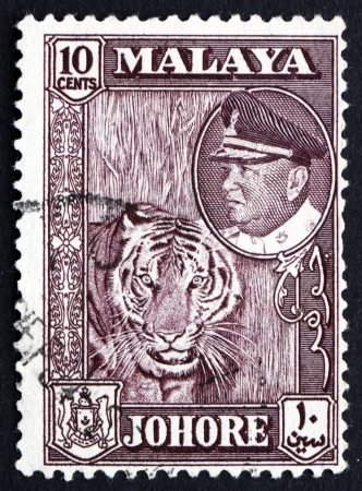 malaya: MALAYA - CIRCA 1960: a stamp printed in Malaya shows Tiger with Portrait of Sultan Ismail, circa 1960