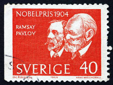 petrovich: SWEDEN - CIRCA 1964  a stamp printed in the Sweden shows Sir William Ramsey and Ivan Petrovich Pavlov, Winners of the 1904 Nobel Prize, circa 1964