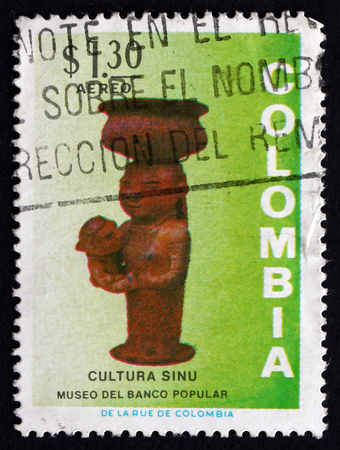 COLOMBIA - CIRCA 1973: a stamp printed in the Colombia shows Woman and Child, Ceramic, Pre-Columbian Sinu Culture Artifact, circa 1973