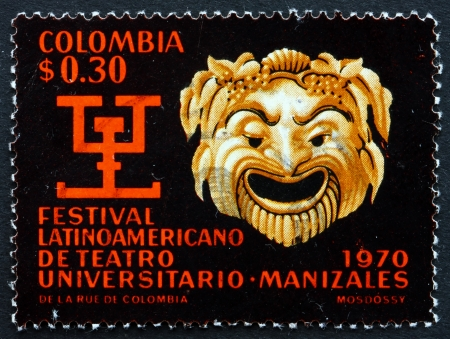 COLOMBIA - CIRCA 1970: a stamp printed in the Colombia shows Greek Mask and Pre-Columbian Symbol of Literary Contest, circa 1970