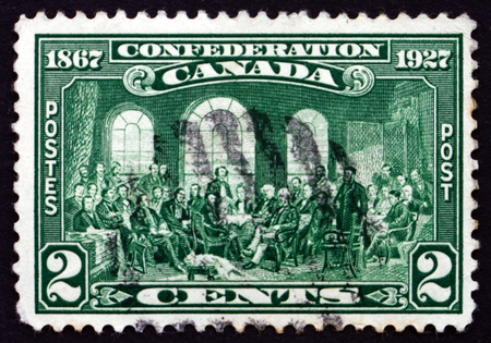 confederation: CANADA - CIRCA 1927: a stamp printed in the Canada shows The Fathers of Confederation, 60th Year of the Canadian Confederation, circa 1927