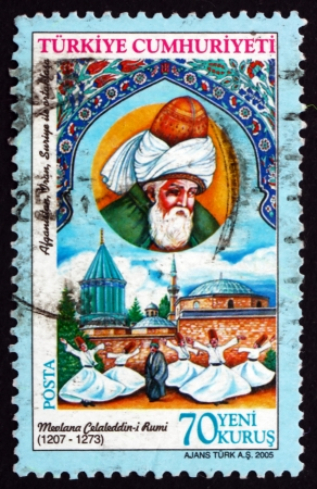 theologian: TURKEY - CIRCA 2005: a stamp printed in the Turkey shows Mevlana Jalal ad-Din ar-Rumi, Islamic Philosopher and Poet, circa 2005