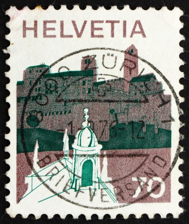 helvetia: SWITZERLAND - CIRCA 1973: a stamp printed in the Switzerland shows Village in Sopraceneri, Switzerland, circa 1973