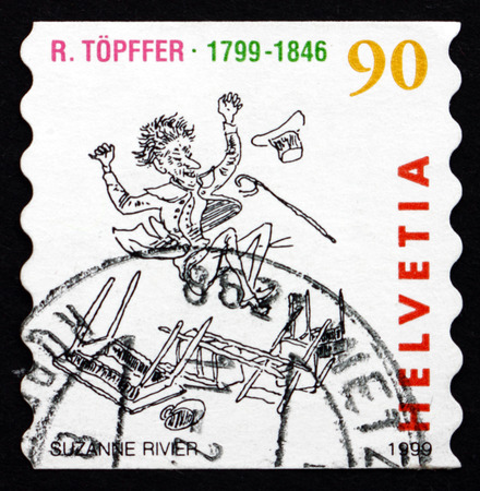 bois: SWITZERLAND - CIRCA 1999: a stamp printed in the Switzerland shows Comic Book, Les Amours de Monsieur Vieux Bois, by Rodolphe Topffer, circa 1999 Editorial