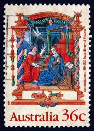annunciation: AUSTRALIA - CIRCA 1989: a stamp printed in the Australia shows Annunciation, from the Nicholai Joseph Foucault Book of Hours, c.1510-20, Illumination, Christmas, circa 1989