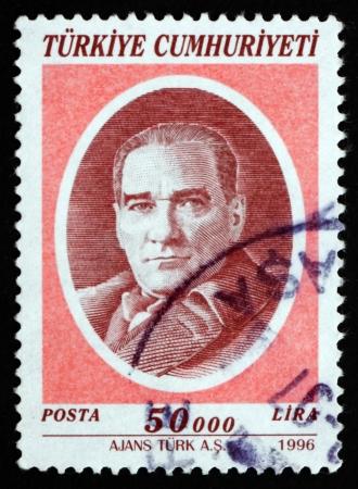 mustafa: TURKEY - CIRCA 1996: a stamp printed in the Turkey shows Mustafa Kemal Ataturk, the First President of Turkey, Father of the Turks, circa 1996