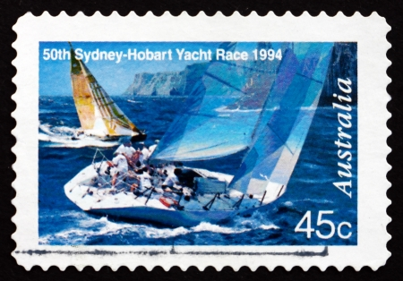 AUSTRALIA - CIRCA 1994: a stamp printed in the Australia shows Two Yachts Abeam, 50th Sydney - Hobart Yacht Race, circa 1994