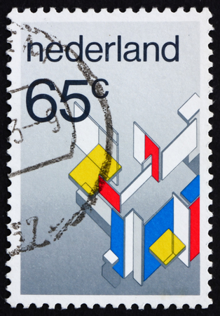 contra: NETHERLANDS - CIRCA 1983: a stamp printed in the Netherlands shows Maison Particuliere contra Construction, by C. van Eesteren and T. van Doesburg, Modern Art Movement, circa 1983 Editorial