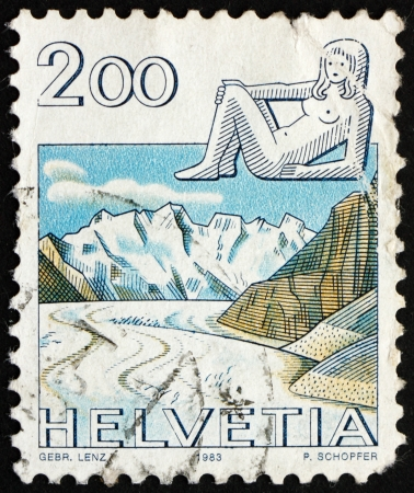 monch: SWITZERLAND - CIRCA 1983: a stamp printed in the Switzerland shows Virgo, Jungfrau Monch Eiger Mountains, Sign of the Zodiac and Landscape, circa 1983