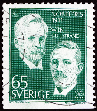 nobel: SWEDEN - CIRCA 1971  a stamp printed in the Sweden shows Wilhelm Wien and Allvar Gullstrand, Winners of the 1911 Nobel Prize, circa 1971