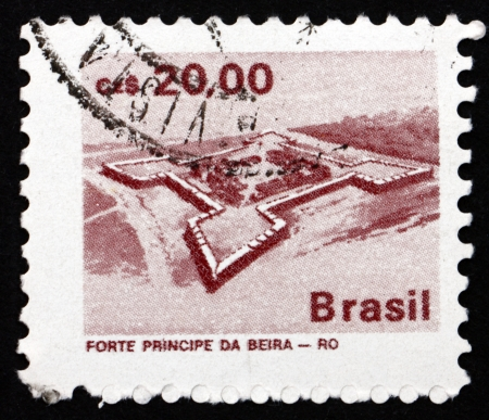 BRAZIL - CIRCA 1986  a stamp printed in the Brazil shows Principe da Beiro Fort, Mato Dentro, circa 1986
