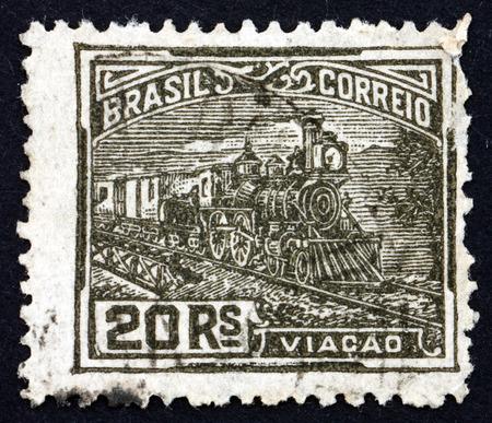 BRAZIL - CIRCA 1920  a stamp printed in the Brazil shows Railroad, circa 1920