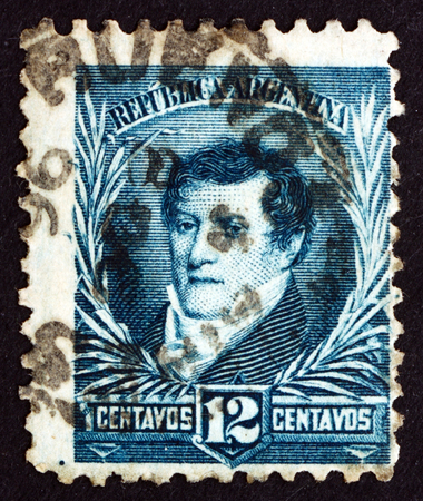 economist: ARGENTINA - CIRCA 1893: a stamp printed in the Argentina shows Manuel Belgrano, Economist, Lawyer, Politician and Military Leader, circa 1893