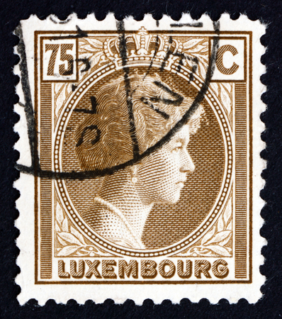 LUXEMBOURG - CIRCA 1927: a stamp printed in the Luxembourg shows Charlotte, Grand Duchess of Luxembourg, Reign from 1919 to 1964, circa 1927