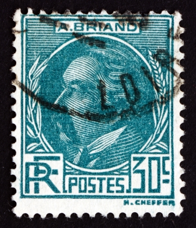 statesman: FRANCE - CIRCA 1933: a stamp printed in the France shows Aristide Briand, Statesman, Prime Minister of France during the French Third Republic, circa 1933