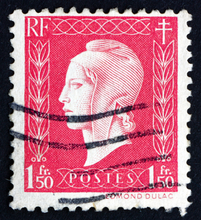 FRANCE - CIRCA 1944: a stamp printed in the France shows Marianne, the Allegory of the French Republic, circa 1944