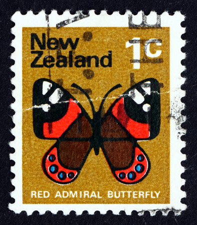 vanessa: NEW ZEALAND - CIRCA 1970: a stamp printed in the New Zealand shows Red Admiral Butterfly, Vanessa Atalanta, Butterfly, circa 1970 Editorial