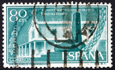 SPAIN - CIRCA 1956: a stamp printed in the Spain shows Hermitage and Monument, 20th Anniversary of the Nomination of General Franco as Chief of State, circa 1956