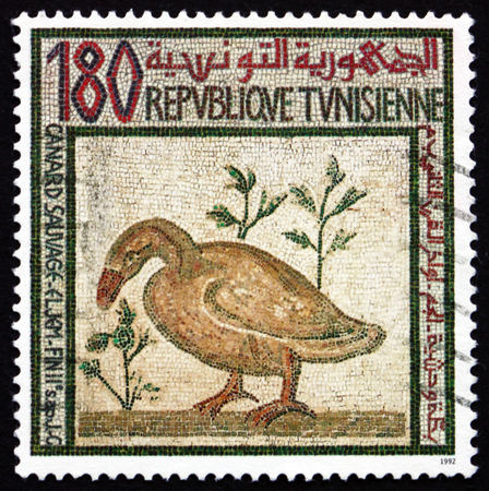 TUNISIA - CIRCA 1992: a stamp printed in Tunisia shows Duck, Mosaic, circa 1992